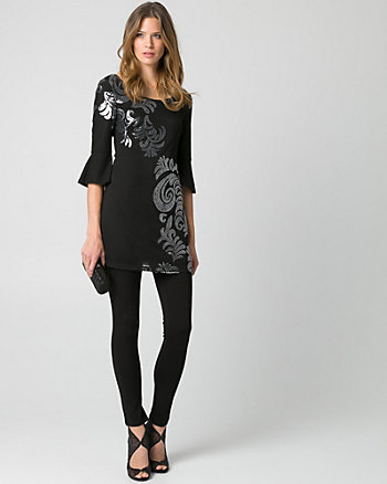 Sequin Scoop Neck Tunic Top