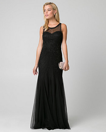 Embellished Mesh & Knit Illusion Gown