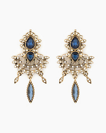 Gem & Pearl-Like Chandelier Earrings