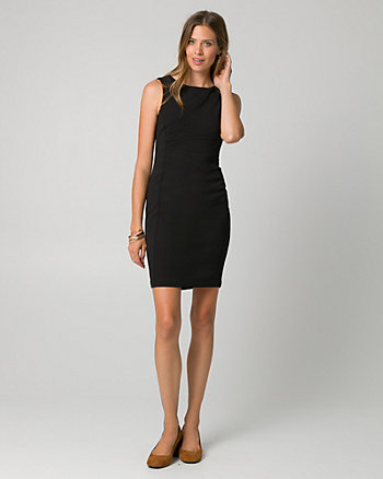 Knit Crêpe Boat Neck Shift Dress