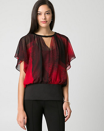 Abstract Print Chiffon Poncho Top