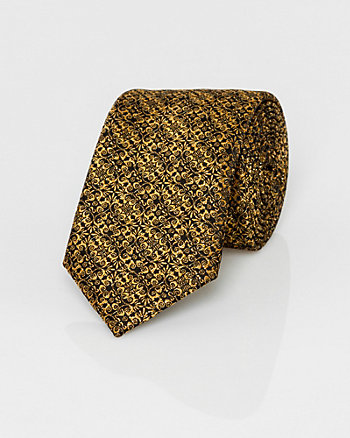 Novelty Print Metallic Knit Skinny Tie
