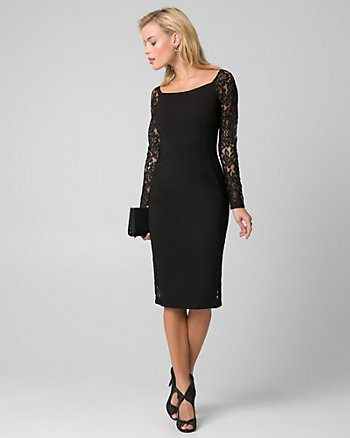 Lace & Ponte Boat Neck Cocktail Dress