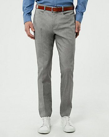 Two-Tone Stretch Twill Slim Leg Pant