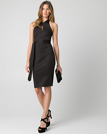 Scuba Knit Mandarin Collar Cocktail Dress