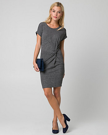 Cut & Sew Knit Crew Neck Pleated Dress