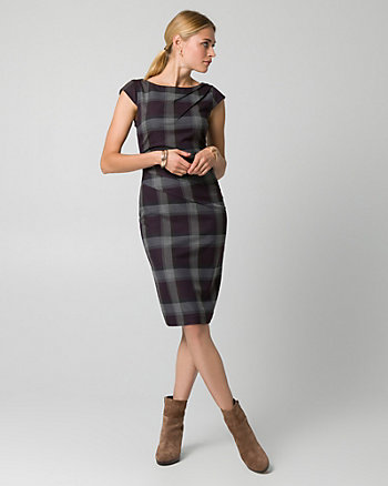 Check Print Viscose Blend Shift Dress