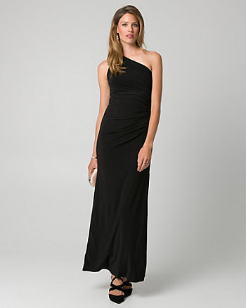 Knit One Shoulder Ruched Gown