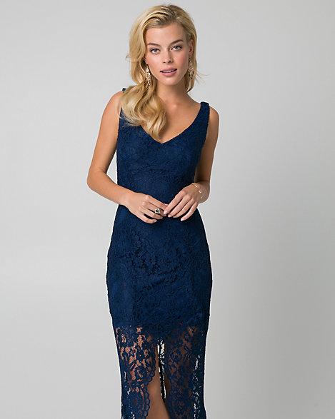 Corded Lace V-Neck Gown | LE CHÂTEAU
