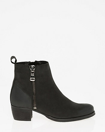 Nubuck Leather Almond Toe Ankle Boot