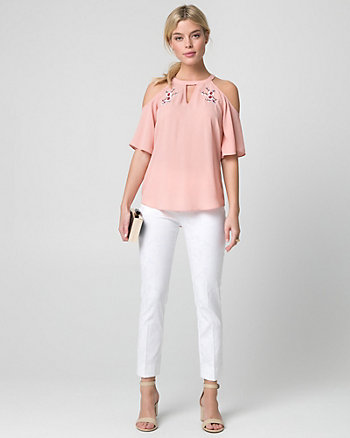 Embroidered Crêpe de Chine Halter Blouse