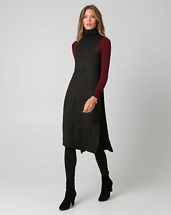 Knit Mock Neck Slit Sweater Vest