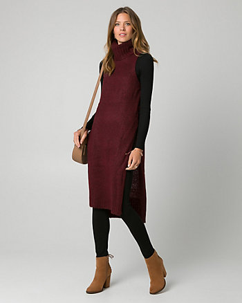 Knit Mock Neck Slit Sweater Vest