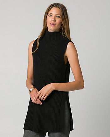 Rib Cotton Blend Slit Sweater Vest