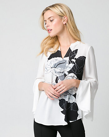 Floral Print Crêpe de Chine V-Neck Blouse