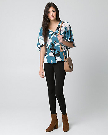 Floral Print Viscose V-Neck Blouse