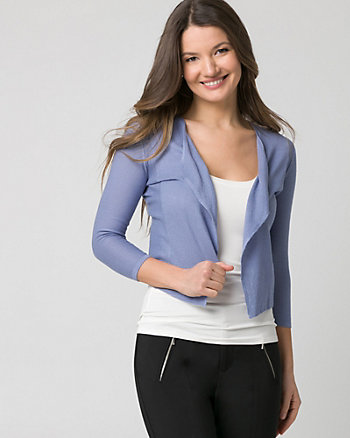 Textured Cotton Blend Open-Front Cardigan