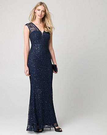 Sequin & Lace Illusion Gown