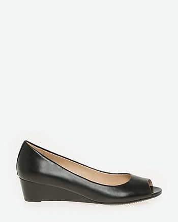 Leather Peep Toe Wedge Pump