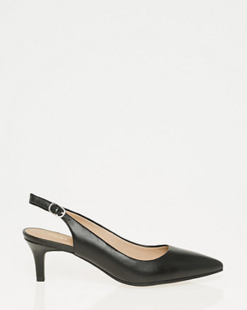 Leather Pointy Toe Slingback