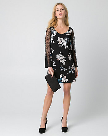 Floral Print Lace & Crêpe de Chine Dress