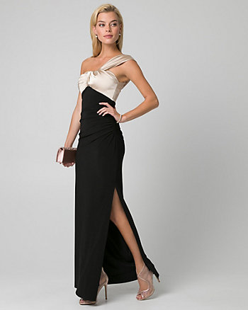 Satin & Knit One Shoulder Gown