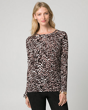 Leopard Print Cut & Sew Knit Top