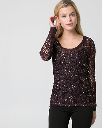Sequin Scoop Neck Sweater