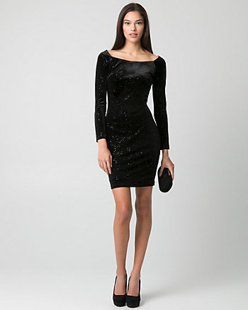 Sparkle & Velvet Off-the-Shoulder Dress