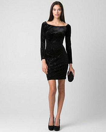 Sparkle & Velvet Off-the-Shoulder Dress