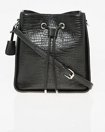 Lizard Embossed Leather-Like Bucket Bag