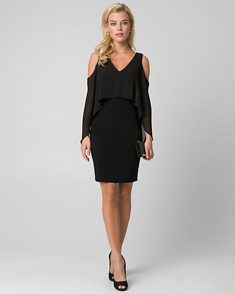"Le Chateau - A fluttering chiffon cape with elegant cold shoulders perfects an evening-ready knit dress. Knit; chiffon cape. V-neck, long cape sleeves. Cold shoulders. Fitted, straight hem. 37"" from high shoulder point. 95% Polyester 5% Spandex. Made in Canada. Please note that this dress will be delivered with an additional return tag attached. The dress cannot be returned once return tag is removed."