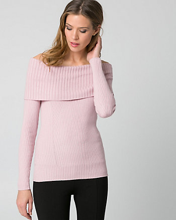 Rib Cotton Blend Foldover Sweater