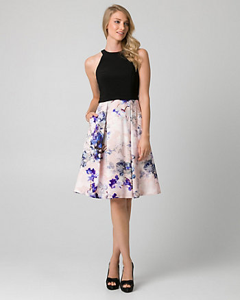Floral Print Satin Halter Cocktail Dress