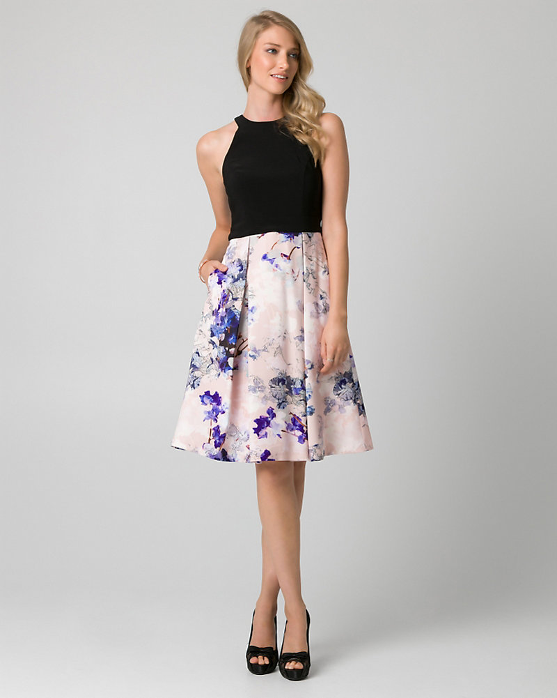 Floral Print Satin Halter Cocktail Dress | LE CHÂTEAU