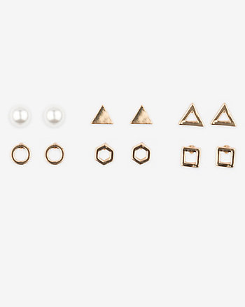 Set of Six Stud Earrings