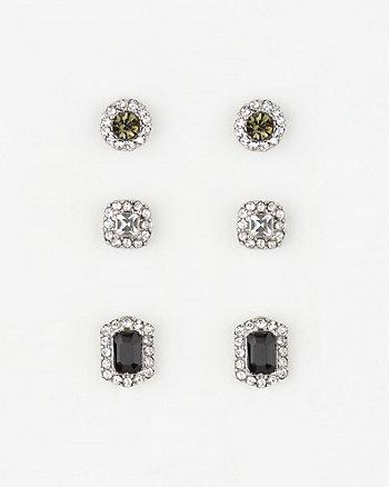 Set of Three Gem Stud Earrings