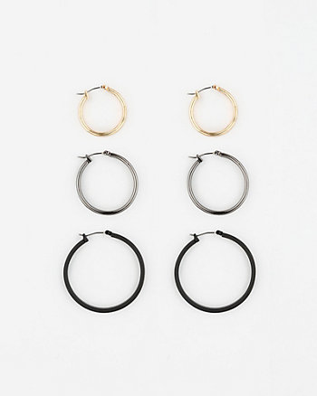 Set of Three Metal Hoop Earrings