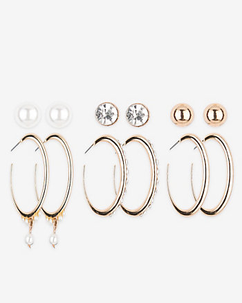 Set of Six Stud & Hoop Earrings