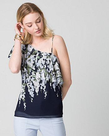 Floral Print Chiffon One Shoulder Blouse