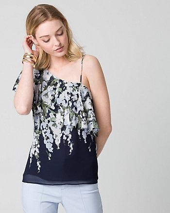 Floral Print Chiffon One Shoulder Blouse