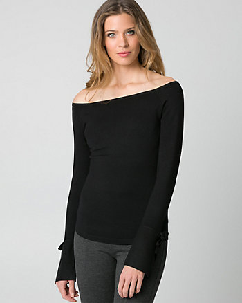 Viscose Blend Off-the-Shoulder Sweater