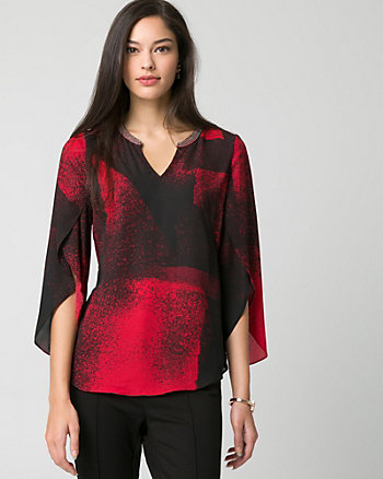 Abstract Print Crêpe de Chine V-Neck Blouse