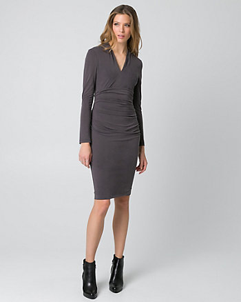 Brushed Jersey V-Neck Ruched Dress