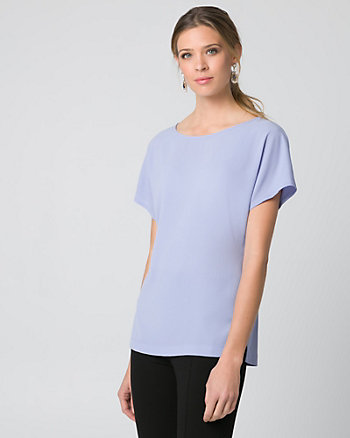 Crêpe de Chine Boat Neck Top