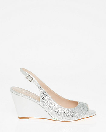 Jewel Embellished Peep Toe Slingback