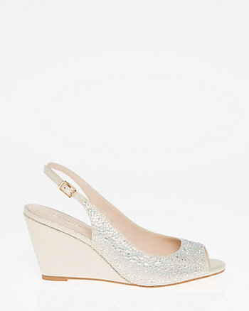 Jewel Embellished Wedge Slingback Sandal