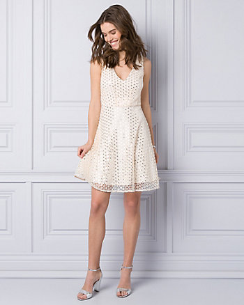 Sequin & Lace V-Neck Cocktail Dress