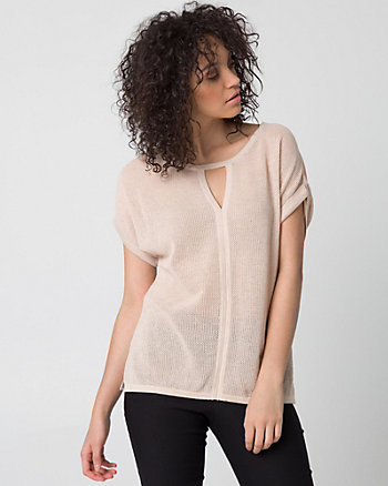 Textured Cotton Blend Sweater