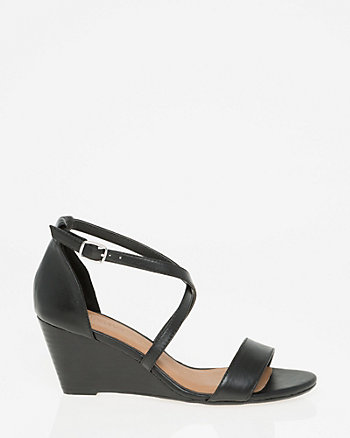 Leather Criss-Cross Wedge Sandal